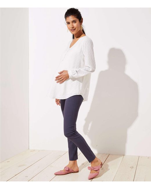 1ef9f84f295 LOFT - Gray Petite Maternity Skinny Ankle Pants - Lyst ...