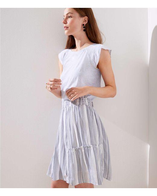 LOFT - White Striped Ruffle Full Skirt - Lyst