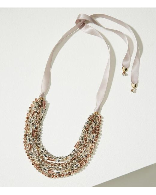 LOFT   Metallic Ribbon Multistrand Beaded Necklace   Lyst