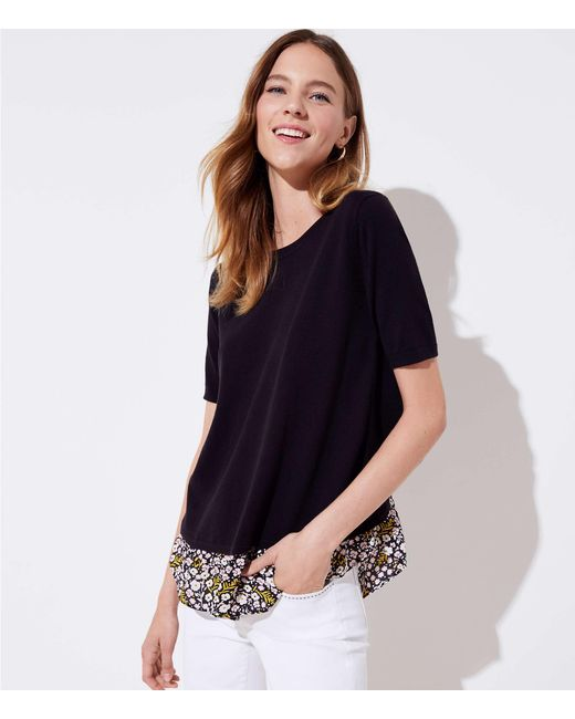 LOFT - Black Floral Crossover Mixed Media Sweater - Lyst