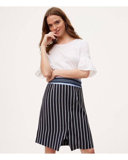 LOFT - Black Mixed Stripe Wrap Skirt - Lyst