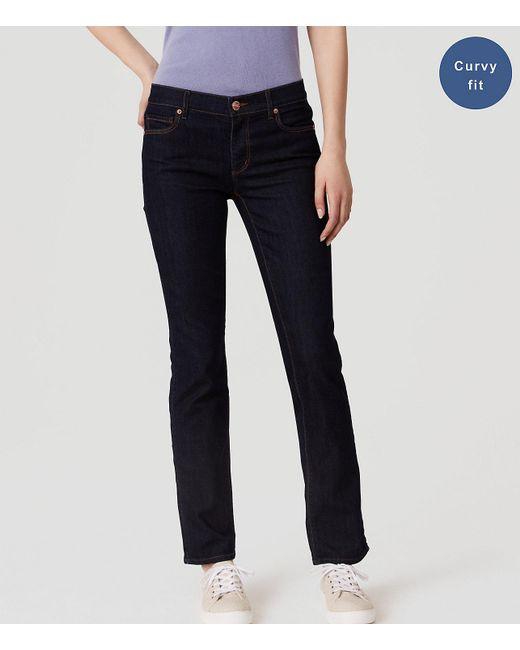 LOFT - Blue Petite Curvy Straight Leg Jeans In Dark Rinse Wash - Lyst