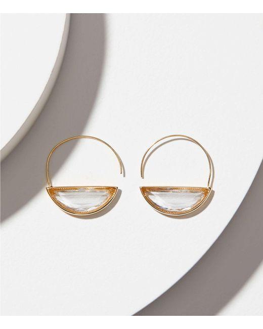 LOFT - Metallic Stone Pull Through Hoop Earrings - Lyst