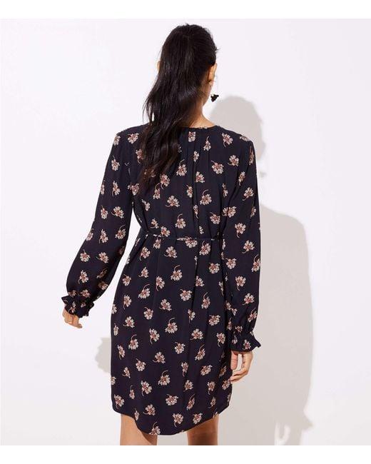 3c1b340df8d Lyst - LOFT Maternity Bouquet Ruffle Tie Waist Dress in Black - Save 67%