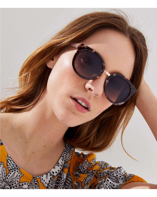LOFT - Brown Metallic Trim Tortoiseshell Print Cateye Sunglasses - Lyst