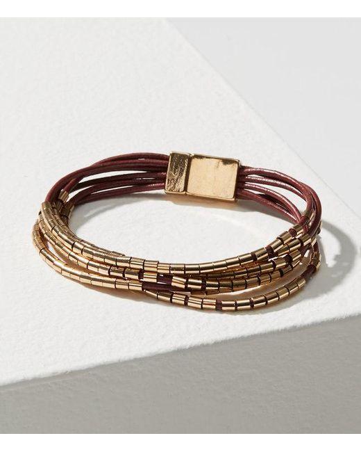 LOFT   Multistrand Metallic Beaded Bracelet   Lyst