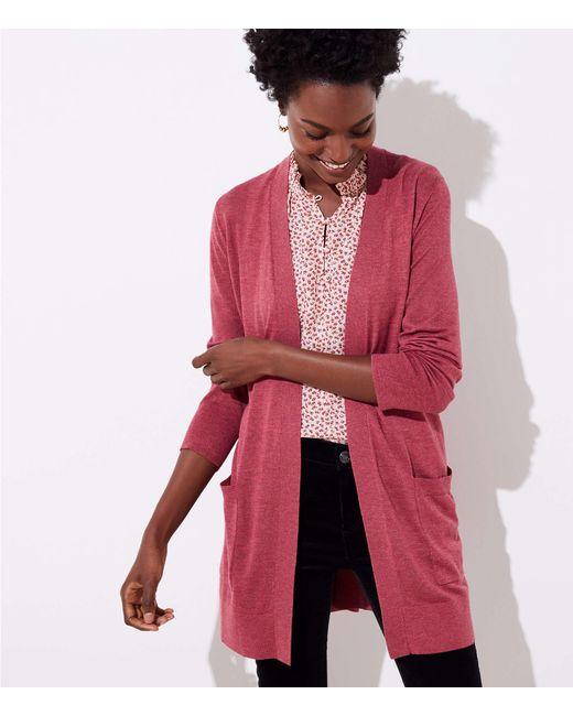 LOFT - Pink Pocket Open Cardigan - Lyst