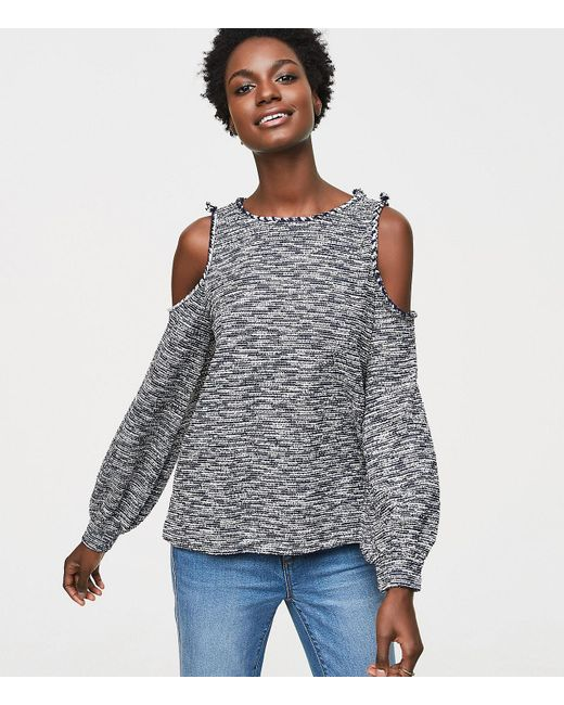 LOFT | Blue Textured Spacedye Cold Shoulder Top | Lyst