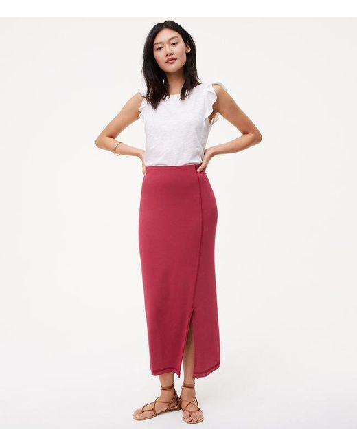 LOFT | Red Seamed Maxi Skirt | Lyst