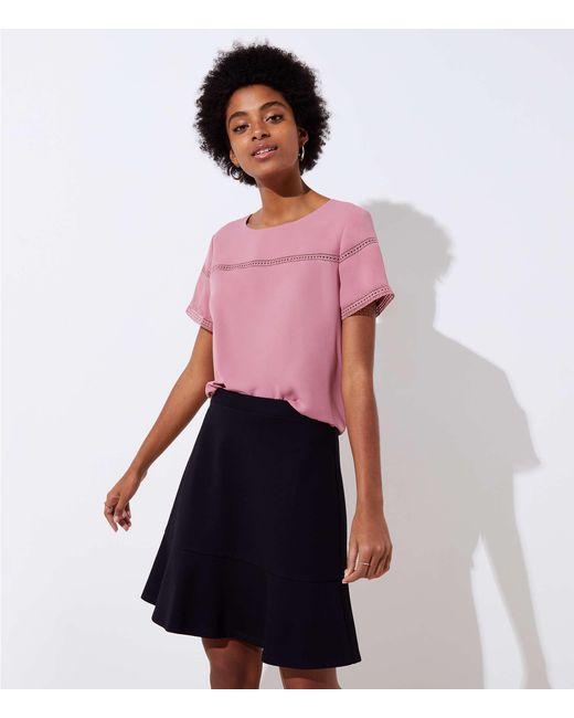LOFT - Black Ponte Flippy Skirt - Lyst