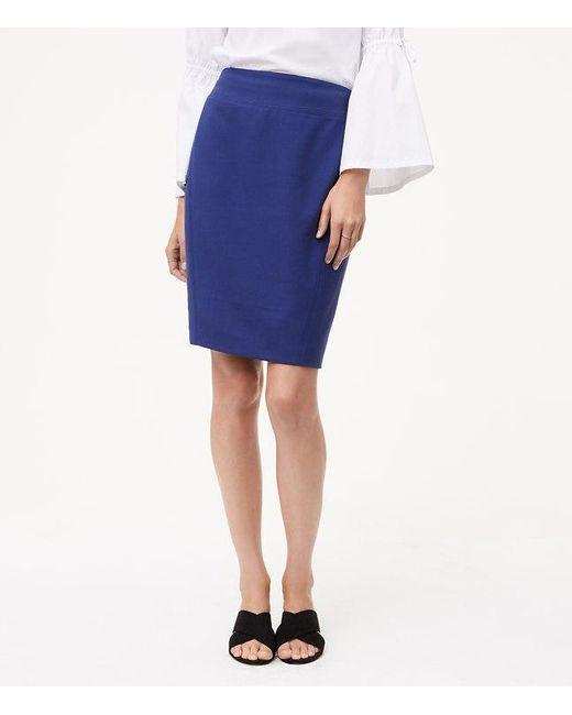 LOFT | Blue Curvy Seamed Scuba Pencil Skirt | Lyst