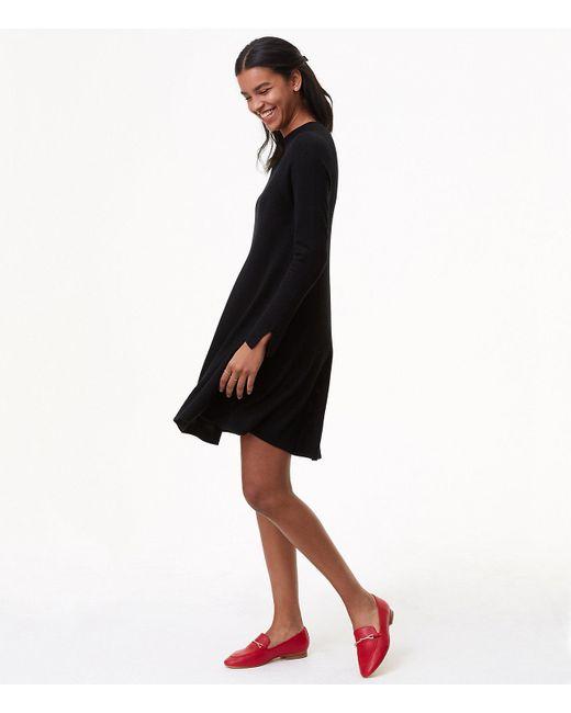 Lyst Loft Petite Mock Neck Swing Sweater Dress In Black