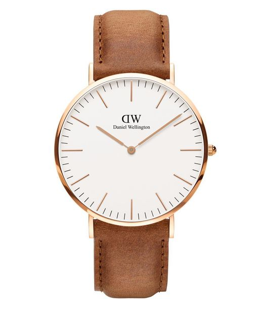 Daniel Wellington - Brown Classic Durham Rose Goldtone And Leather Strap Watch - Lyst
