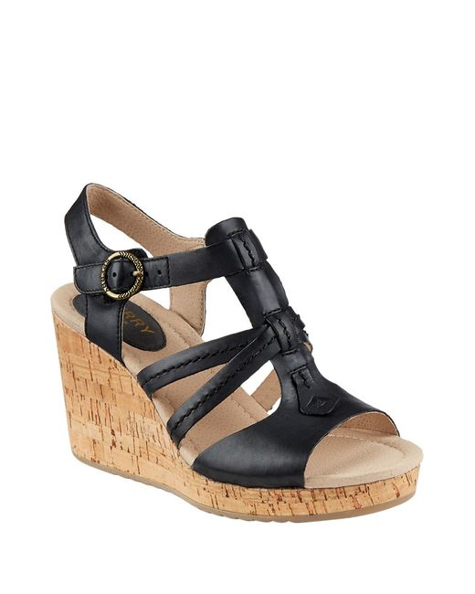 sperry top sider day wedge sandals in black lyst