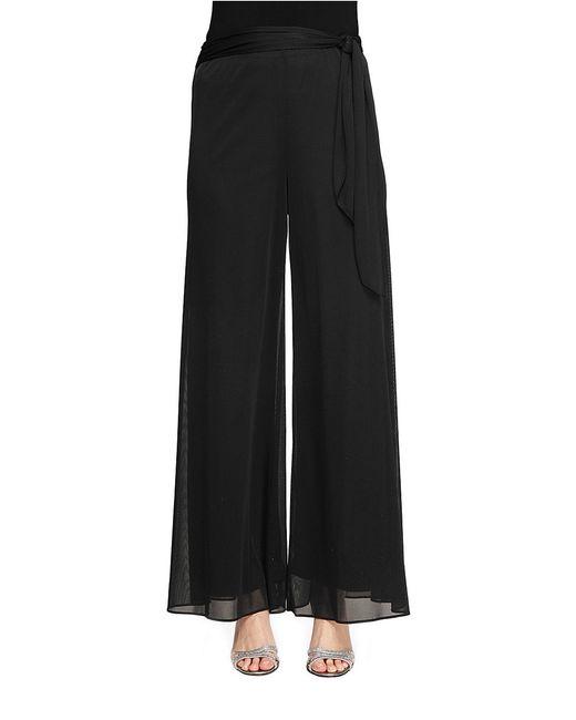 Alex Evenings   Black Side-sash Mesh Dress Pants   Lyst