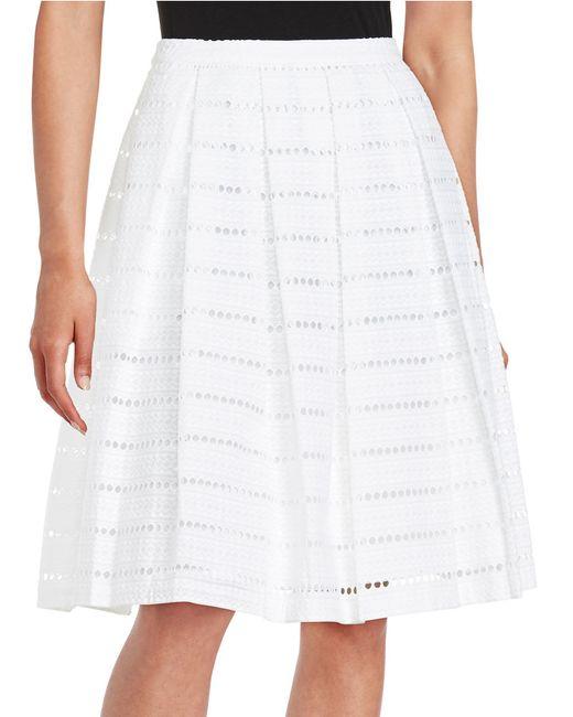 calvin klein a line eyelet skirt in white save 63 lyst