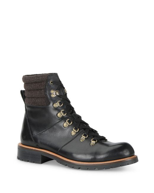 andrew marc chester wool cuff boots in black for lyst