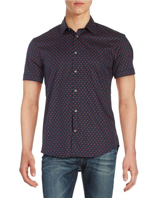 John Varvatos | Red Long-sleeved Cotton Shirt for Men | Lyst