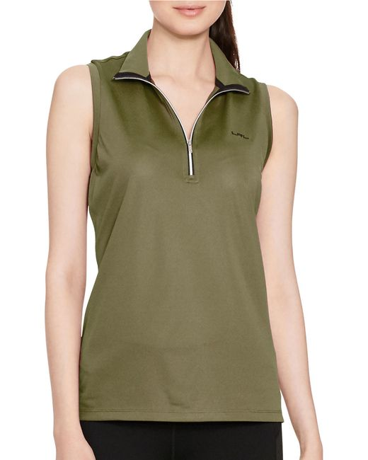 Lauren by ralph lauren sleeveless mock neck shirt in green for Sleeveless mock turtleneck shirts