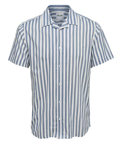 Only & Sons - Blue Striped Button-down Shirt for Men - Lyst