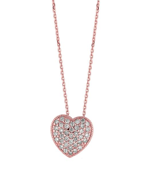 Morris & David | Metallic 14k Rose Gold Diamond Heart Pendant Necklace - 0.75 Tcw | Lyst
