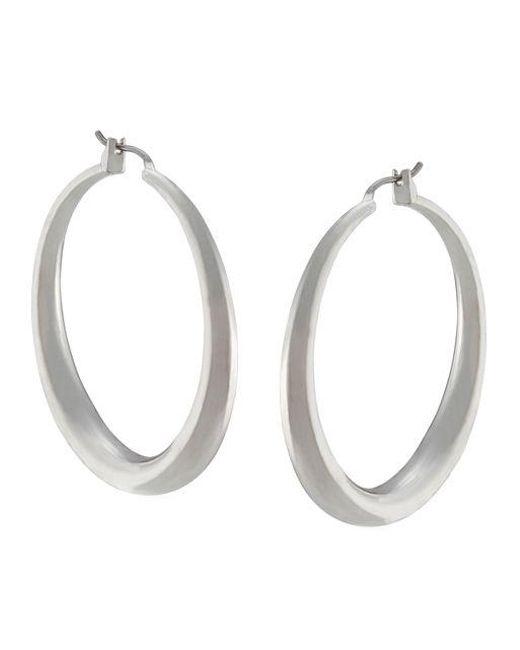 Lauren by Ralph Lauren | Metallic Silvertone Medium Donut Hoop Earrings | Lyst