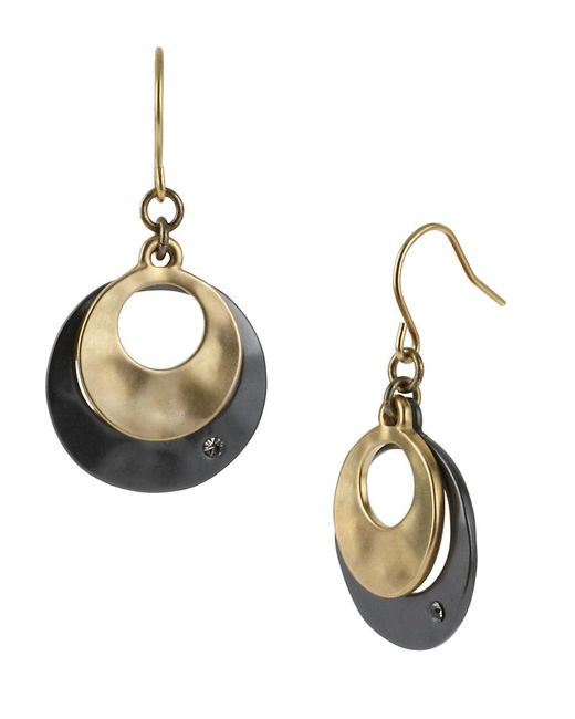 Kenneth Cole | Metallic Two-tone Sculptural Double Drop Earrings | Lyst