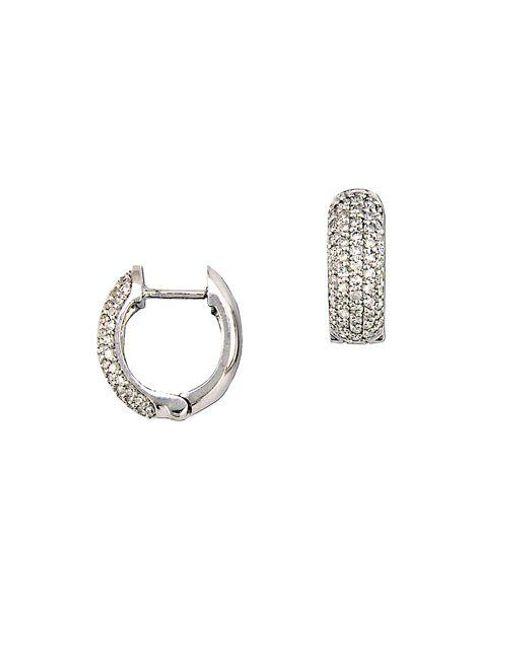 Effy   Metallic Diamond And 14k White Gold Pave Huggie Hoop Earrings, 0.53tcw   Lyst