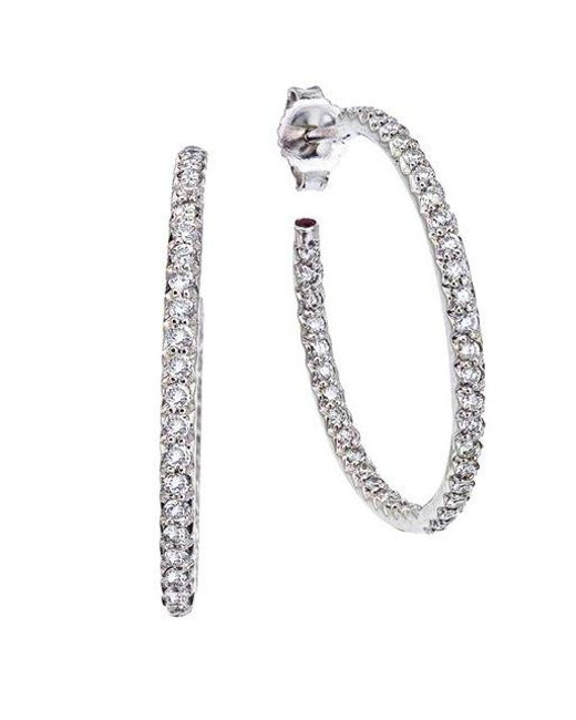 Roberto Coin | Metallic Diamond & 18k White Gold Medium Hoop Earrings | Lyst