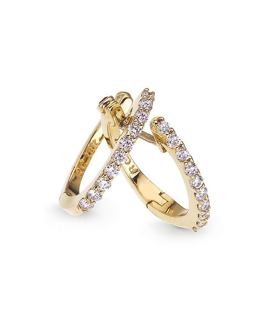 Roberto Coin | Metallic Diamond And 18k Yellow Gold Huggie Hoop Earrings, 0.5in | Lyst