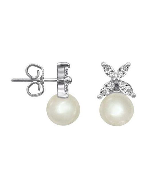 Majorica | White Crystal And Pearl Stud Earrings | Lyst