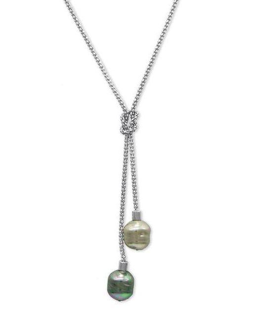 Majorica   Metallic Organic Man-made Pearl Lariat Necklace   Lyst