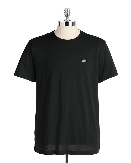 Lacoste | Black Cotton Crewneck Tee for Men | Lyst