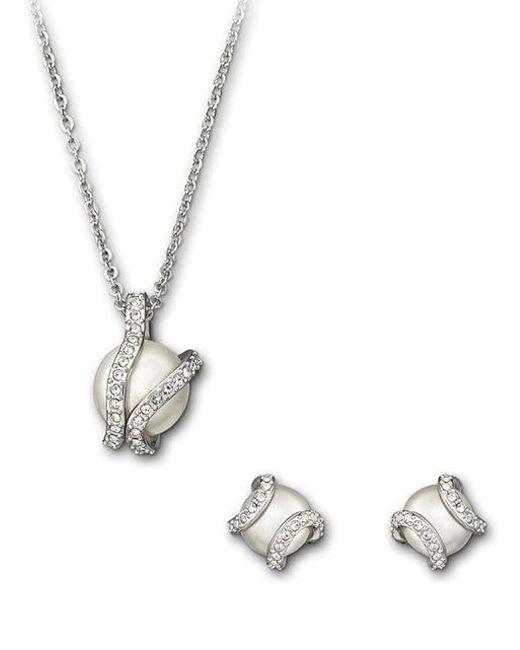 Swarovski | Metallic Nude Earrings & Necklace Set | Lyst