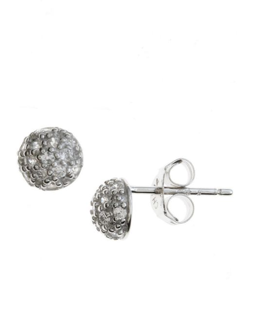 Lord & Taylor | Metallic Platinum Plated Sterling Silver And Cubic Zirconia Ball Stud Earrings | Lyst