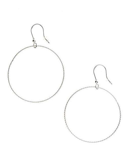 Lord & Taylor | Metallic Etched Forward-facing Hoop Earrings | Lyst