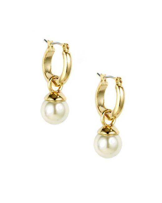 Anne Klein | Metallic Goldtone Hoop Earrings With Pearl Accent | Lyst