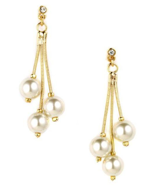 Anne Klein | Metallic Goldtone Drop Earrings With Faux Pearl Accents | Lyst