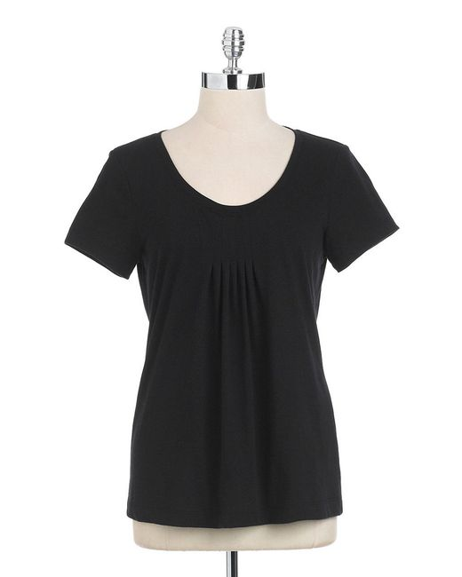 Lord & Taylor | Black Short Sleeved Scoopneck Tee | Lyst