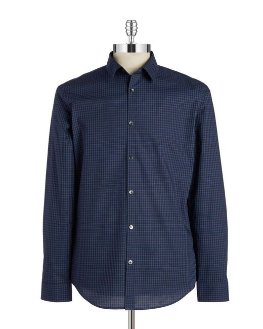 Calvin Klein   Blue Tonal Stripe Sportshirt for Men   Lyst