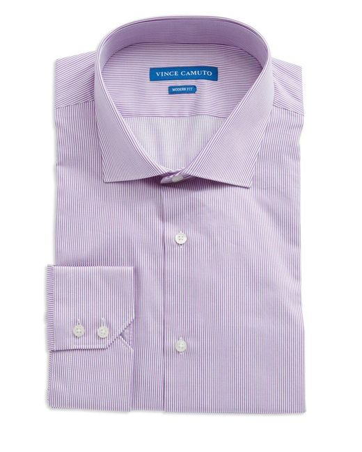 Vince Camuto | Purple Oxford Trim Fit Striped Dress Shirt for Men | Lyst