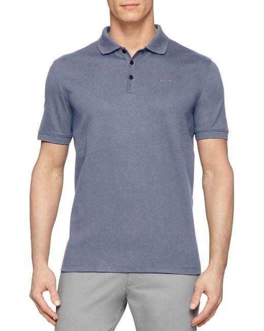 Calvin Klein | Blue Pima Polo Shirt for Men | Lyst