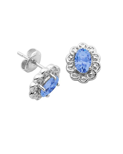 Lord & Taylor | Blue March Birthstone Sterling Silver Earrings | Lyst