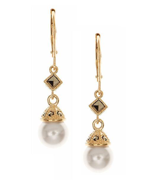 Judith Jack   Metallic Sterling Silver Faux Pearl Drop Earrings   Lyst