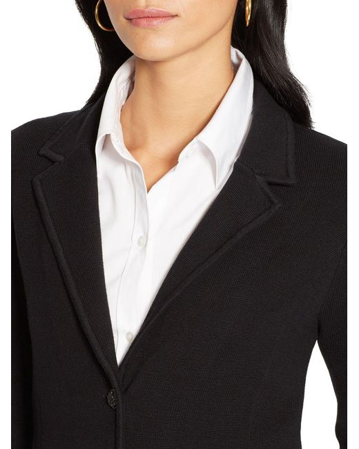 Lauren by ralph lauren Cotton Sweater Blazer in Black - Save 6% | Lyst