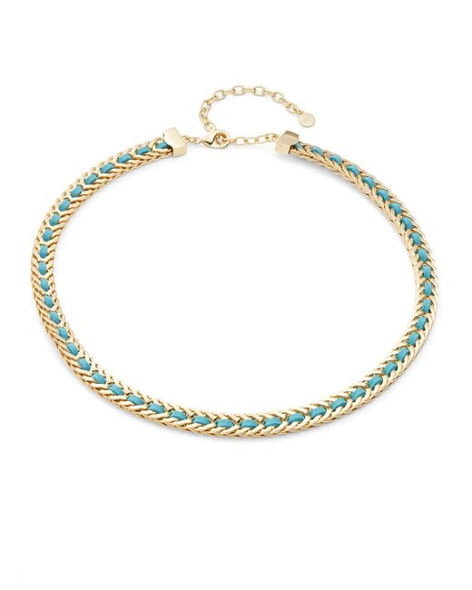 R.j. Graziano | Metallic Leather Woven Collar Necklace | Lyst