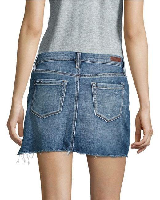 blank nyc denim mini skirt in blue lyst