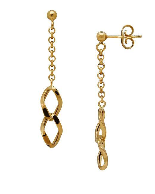 Lord & Taylor | Metallic 14k Italian Gold Double Interlock Marquis Links Dangling Earrings | Lyst