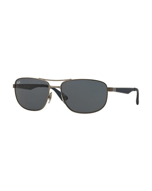 Ray-Ban | Gray Rb352858 Square Logo-temple Sunglasses | Lyst