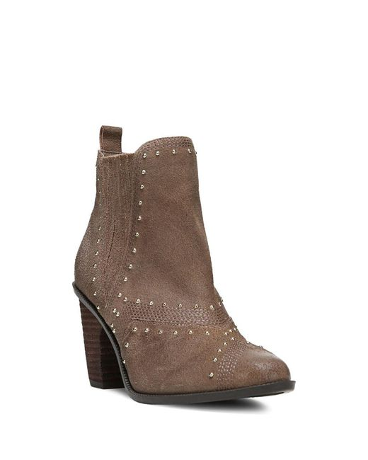 Fergie | Brown Dina Studded Suede Ankle Boots | Lyst